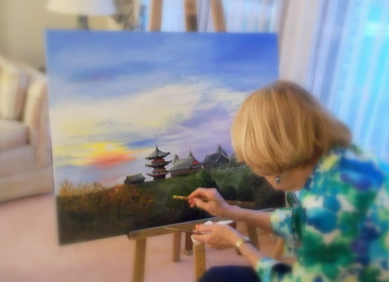 Photo of Lyn painting
